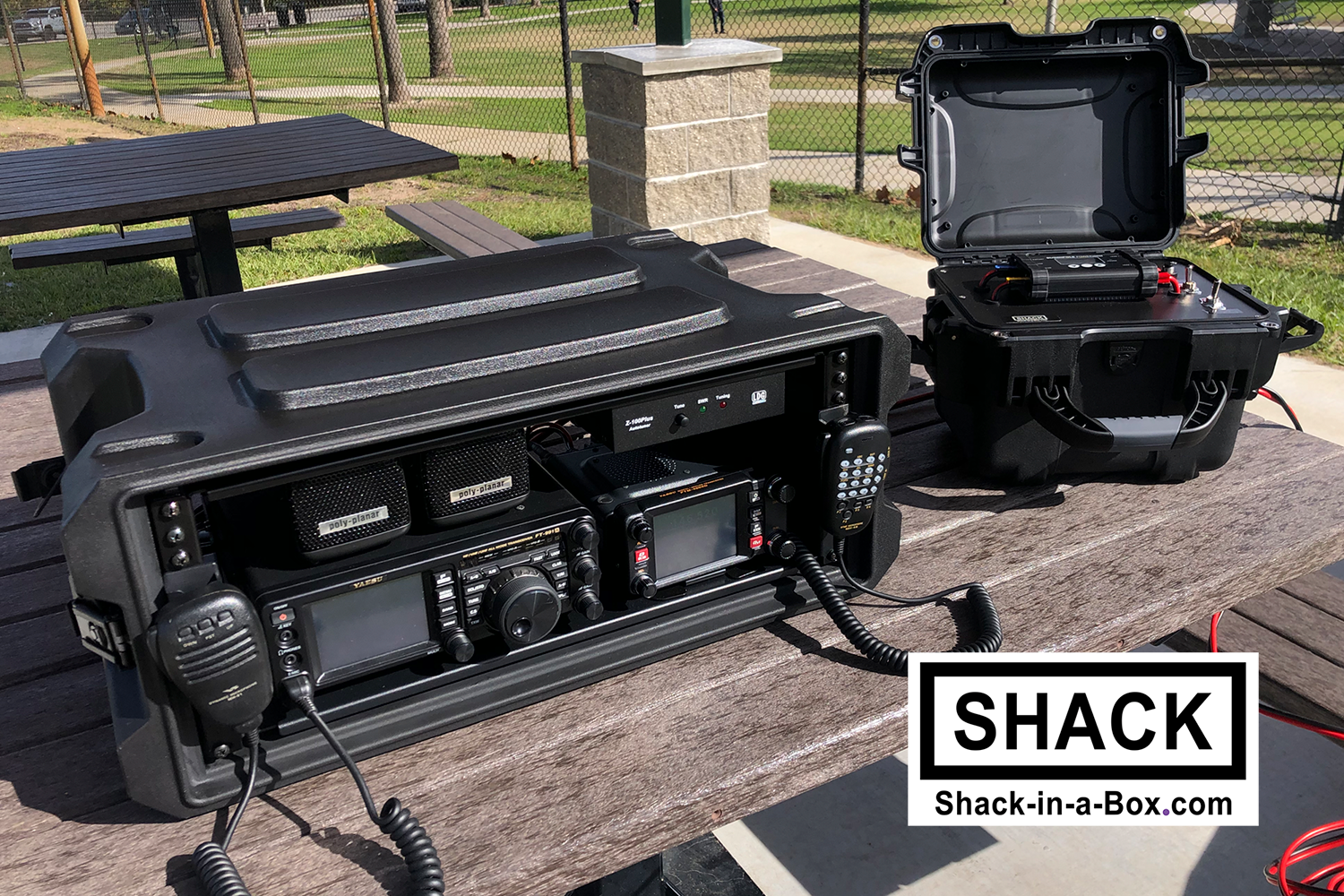 HF/VHF/UHF All-in-One Shack-in-a-Box pictured with the Solaris Plus v2.0 360WH Solar Generator